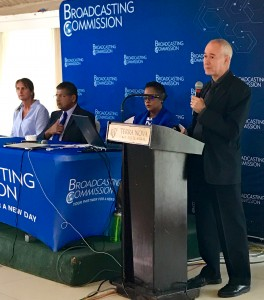 Professor Anthony Clayton's presentation was somewhat chilling. At the table (l-r) are Liz Stanton of Get Safe Online, British High Commissioner Asif Ahmad, and Karlene Salmon, Deputy Executive Director of the Broadcasting Commission. (My photo)