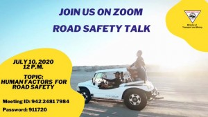 Tomorrow's Road Safety Talk on Zoom will focus on driver behavior.